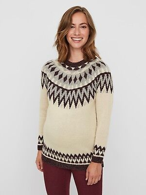 Mamalicious Maternity Jumper Sweater Nordic Knit Pregnancy RRP £40 UK SELLER