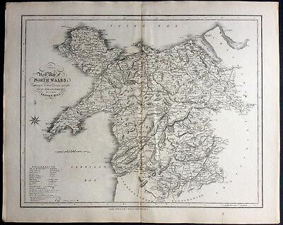 100% Original Map of NORTH WALES c1838 by Ebden & J Duncan, Scarce Antique