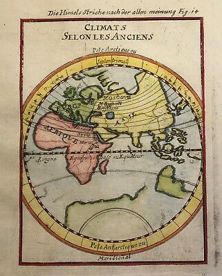 Asia Africa Europe 1684 by Mallet Original rare world hemisphere map copperplate