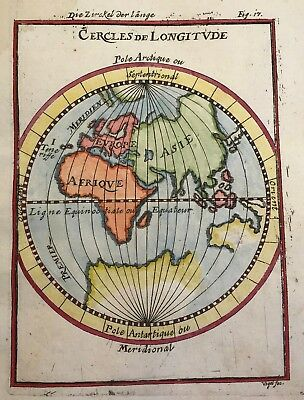 Europe Africa, Asia 1684 by Mallet Original rare world hemisphere LONGITUDE map