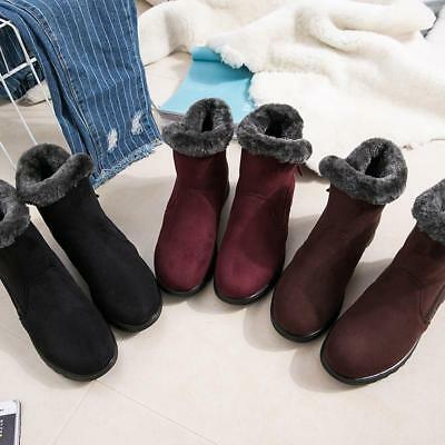 Ladies Womens Flat Warm Winter Ankle Faux Suede Fur Lined Snow Boots HD