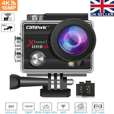 """UK Sports Camera 4K 16MP Action Cam WiFi 2"""" LCD Underwater 30M 170° Camcorder"""