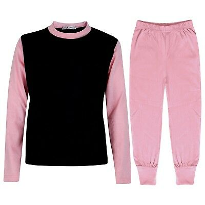 Kids Girls Baby Pink Color Contrast Pjs Plain Stylish Pyjamas Set Age 2-13 Years