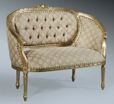 Statement French Gold Leaf Ornate Day bed Double Loveseat Sofa Chaise Longue