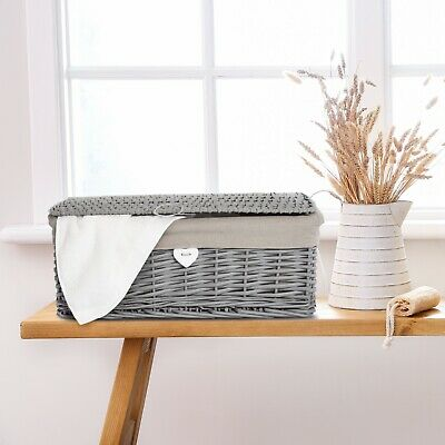 New Grey Painted Lid Wicker Basket Storage Collection Shelve Box Gift Hamper