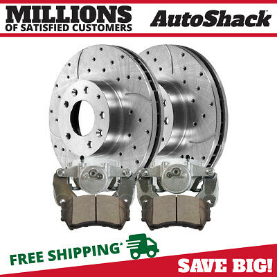 Front Set Drilled Slotted Rotors Ceramic Pad Caliper Fits 06-11 2012 Ford Fusion