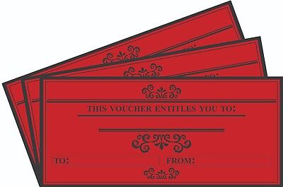 12 x Blank Gift Certificates Vouchers, DL Envelope Size, High Quality Card RED