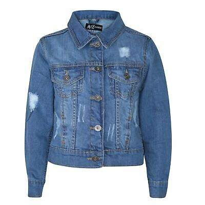 Kids Boys Denim Jacket Designer Light Blue Ripped Jeans Fashion Coat Age 3-13 Yr