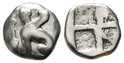 Greek Greece Islands Off Ionia Chios Sphinx Incuse Silver Hemidrachm Nice Coin