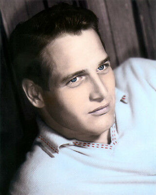 """PAUL NEWMAN ACTOR FILM DIRECTOR ENTREPRENUER 8x10"""" HAND COLOR TINTED PHOTOGRAPH"""