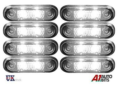 8x Flush Led White Side Marker 24v For Kelsa Bars Scania Man Daf Volvo Iveco