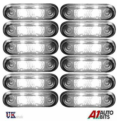 12x 24v Flush Fit White Led Front Side Marker Lamps / Lights Truck Van Kelsa Bar