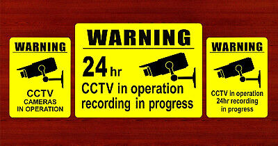 3 x Warning Stickers CCTV Video Camera Recording Home Shop Sign Safety Protected