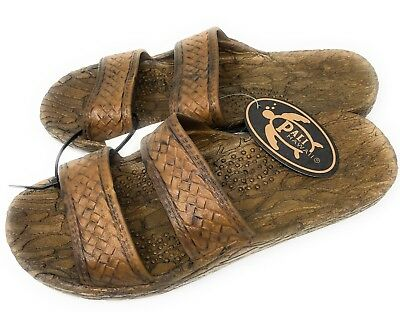 7d8b01bb8 Pali Hawaii Unisex Hawaiian Jesus Sandals Brown Slip On Waterproof Choose  Size