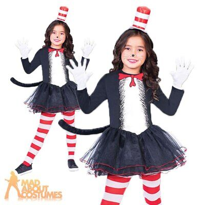 Kids Cat in the Hat Costume Dr Seuss Girls Book Week Child Fancy Dress Outfit