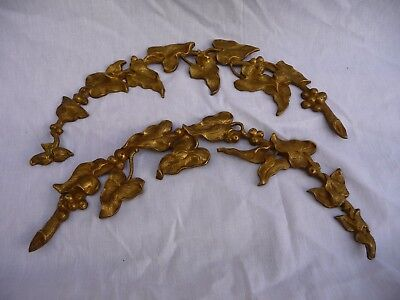 Antique Brass X2 Furniture Fitting Mount Decorative Leaf Hardware Architectural