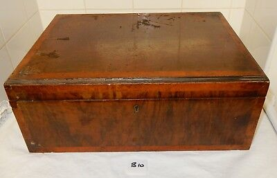 Antique Cross Banded Walnut Work Box With Fitted Lift Out Tray (B10) C1244