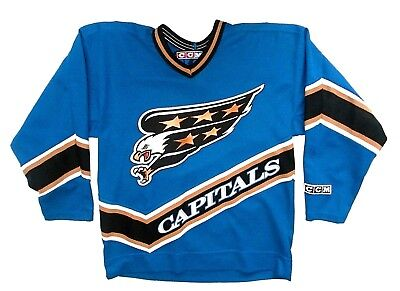 Vintage Washington Capitals NHL Screaming Eagles Blue CCM Jersey Boys Large 8048b2304