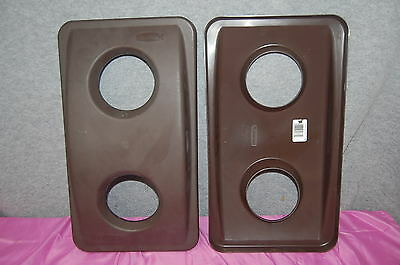 Rubbermaid Commercial #2692-88 Slim Jim Brown Recycle Tops  Set of 2 S4814