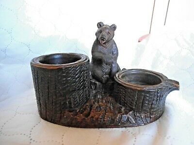 Antique large Black Forest Swiss Bear Carving Ashtray