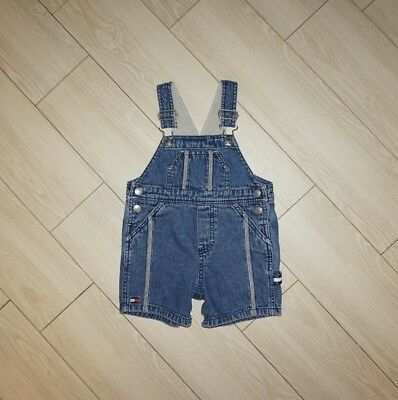 Baby VTG TOMMY HILFIGER Denim Overalls Shortalls Romper One Piece 6 to 12 Months