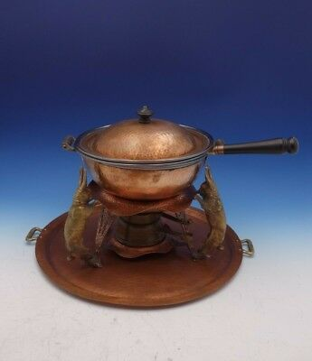 Joseph Heinrichs Copper Bronze Sterling Silver Chafing Dish with Rabbits (#3139)