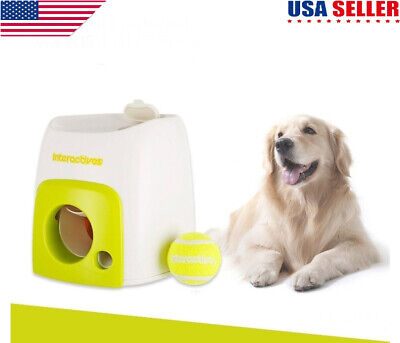 Automatic Pet Dog Launcher Tennis Ball Toy Interactive Fetch Chucker US