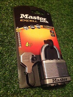 Master Lock Excell Padlock 25mm Security Level 9 M5D 4 keys New FREEPOST