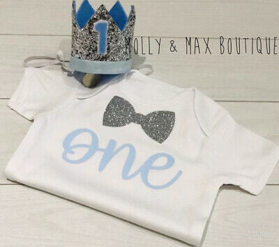 Luxury Boys First 1st Birthday Outfit Cake Smash Set Vest Top + Crown Hat Blue