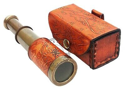 """Maritime Pocket Gift 6"""" Dollond London Antique Brass Telescope With Leather Case"""