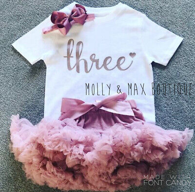Kids Girls Third 3rd Birthday Outfit Tutu Skirt T-Shirt Party Top Rose Gold Bow