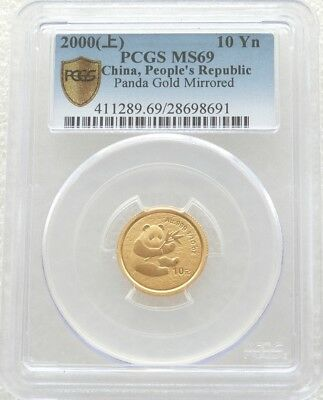 2000 China Panda 10 Ten Yuan Gold 1/10oz Coin PCGS MS69 Mirror