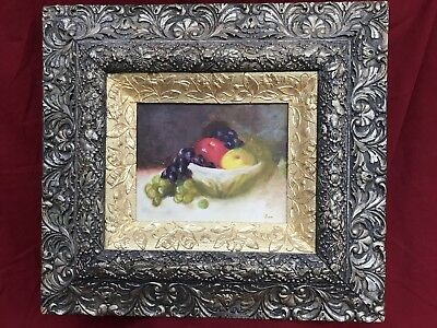 Antique Gold Silver Frame - Original American Hendricks Oil Painting Still Life