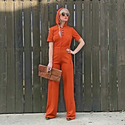 Vintage 1970s Jumpsuit Small- 70s Clothing- Hooded Jumpsuit- Size Small