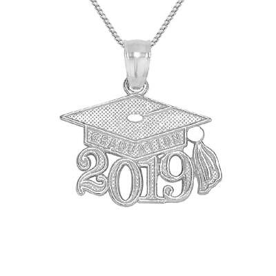 "Sterling Silver 2019 GRADUATION CAP Pendant / Charm, Made in USA, 18"" Box Chain"