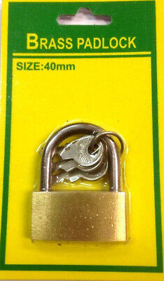 40mm Brass Padlock With 3 Keys Luggage Suitcase Security Travel.