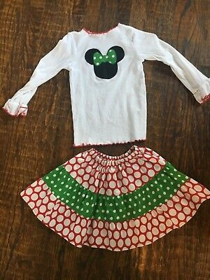 Minnie Mouse Girls 2 Piece Outfit Size 7 EUC
