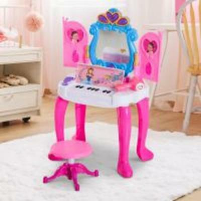 Kids Dressing Table Set W/Stool With Stool Piano Mirror Princess Pink Musical