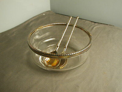 "VINTAGE SALAD BOWL & 2 SERVING UTENSILS - EP ZINC ITALY - BOWL 9"" X 4"" - 1 mg"