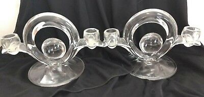 Vintage Art Deco Clear Glass Double Candle Holders both span 8 inches