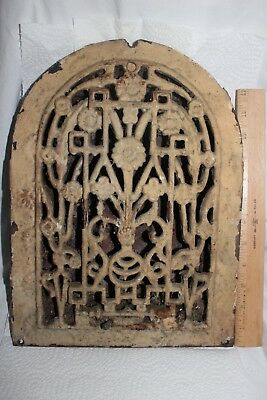 Vintage Ornate Furnace Heat Register Grate w/ Flowers