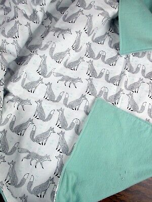 Handmade Double Flannel Baby/Toddler Blanket Foxes Mint Green Blanket