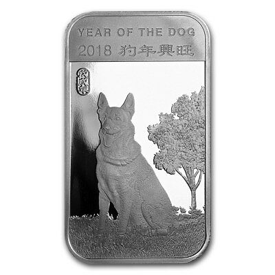 "1 oz .999 Pure Silver Art-Bar/Coin: ""2018 Year Of The Dog Chinese Zodiac"""