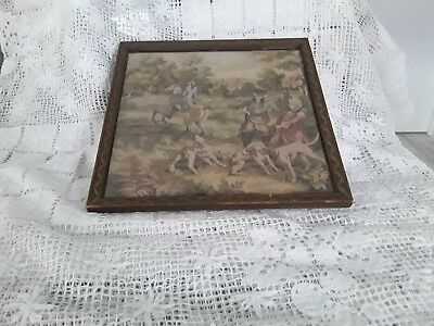 Antique Vintage French Tapestry Framed Hunting Scene