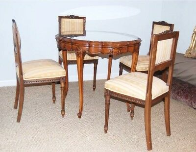 French Louis XV Style 940s) round Game Table with four chairs