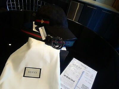 Brand New Gucci Canvas GG Web Adjustable Baseball Hat Cap Medium RECEIPT Box 67bf2b7b45c