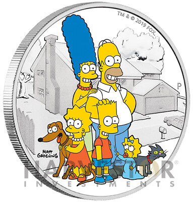 2019 The Simpson Family 2 Oz. Silver Coin - Mint Packaging & Coa - Mintage 2,000