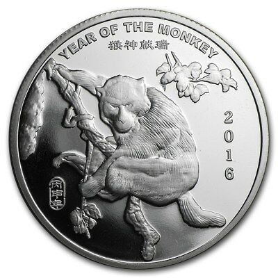 "1 oz .999 Pure Silver Art-Bar/Coin: ""2016 Year of the Monkey, Chinese Zodiac"""