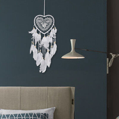 New Handmade Lace Dream Catcher Feather Bead Hanging Decoration Ornament Gift