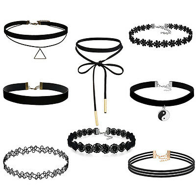 Choker Necklace for Women Girls Black Classic Velvet Stretch Gothic Tattoo  R